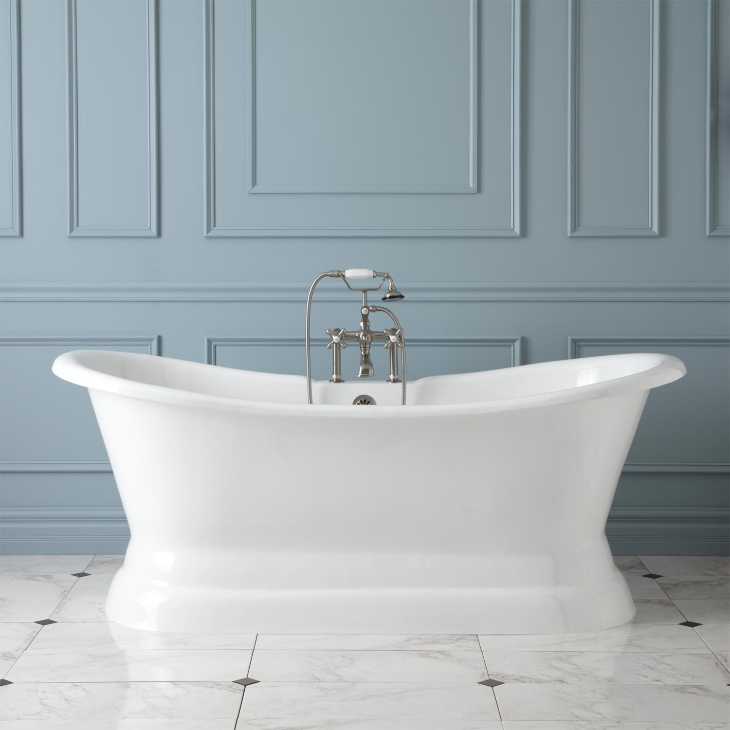 72 Langly Cast Iron Double Slipper Pedestal Tub Bathroom within measurements 1500 X 1500