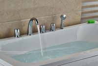 Chrome Polish Tub Faucet 5pcs Three Handles With Hand Shower Deck in sizing 1000 X 1000