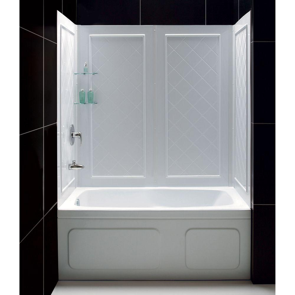 Dreamline Qwall Tub 28 32 In D X 56 To 60 In W X 60 In H 4 Piece within measurements 1000 X 1000
