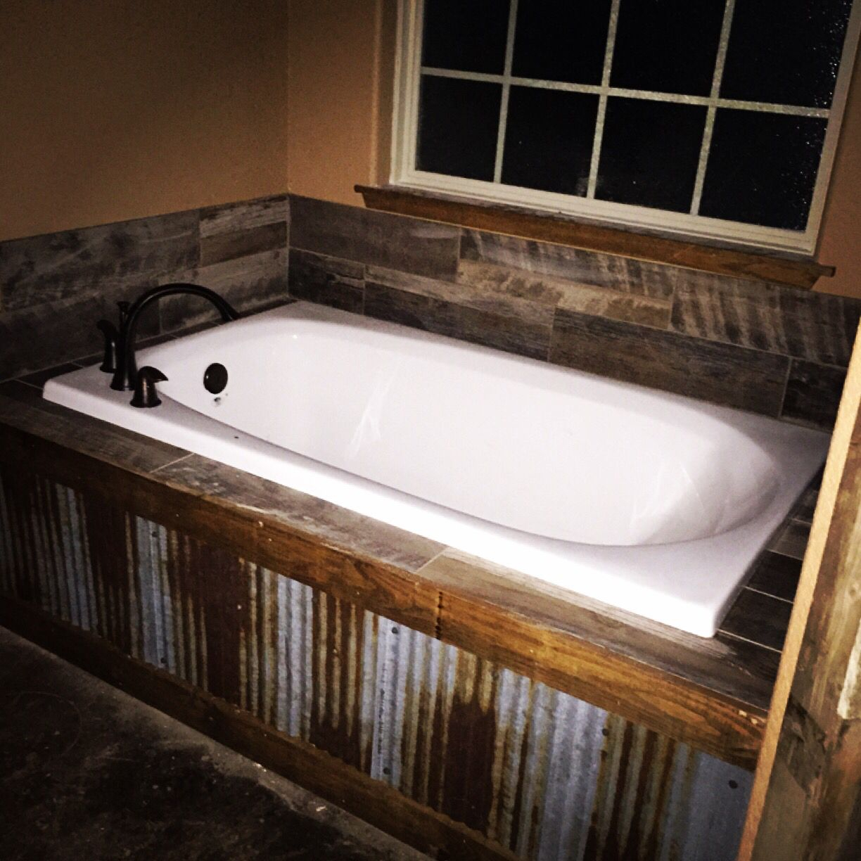 Exceptional Our Rustic Bath Tub Metal Tin In Front With Barn Wood Tile Back Intended  For Sizing
