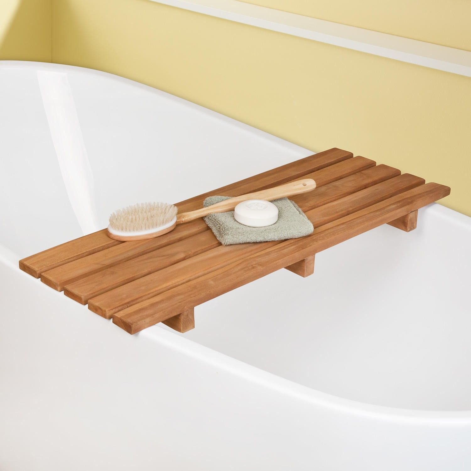 Adjustable Teak Bathtub Shelf-seat • Bathtub Ideas