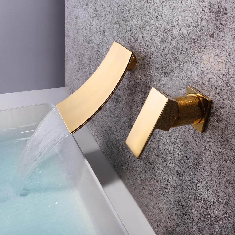 2019 Skowll Wall Mounted Waterfall Faucet Gold Mixer Tap Bathroom with size 1000 X 1000