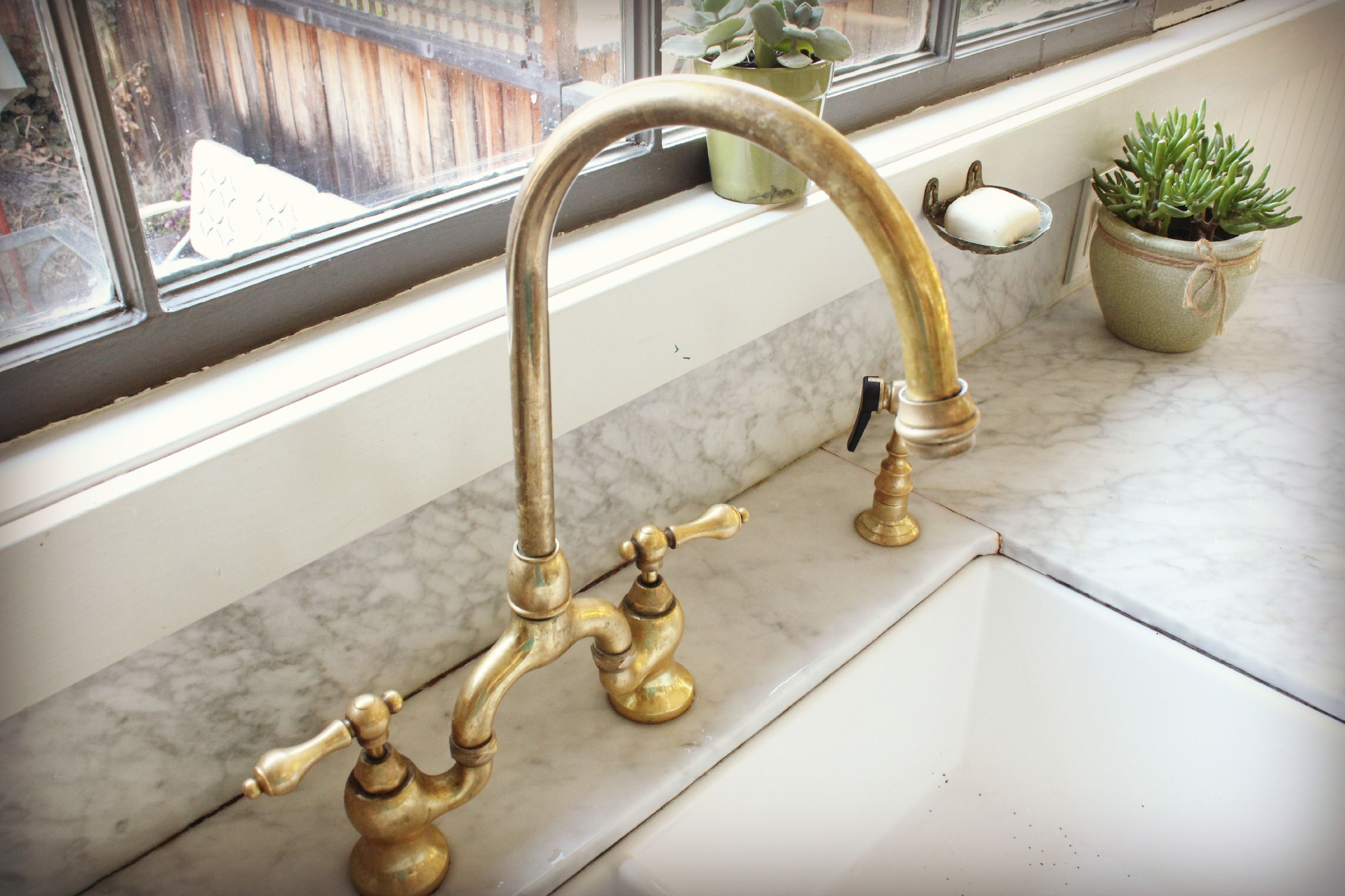 Antique Kitchen Faucets Unlacquered Brass Faucet Detail Kitchen for dimensions 3318 X 2212