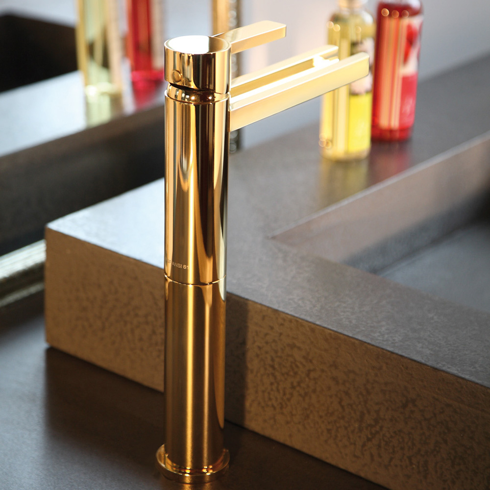 Aqua Polished Gold Modern Bathroom Faucet in size 1000 X 1000