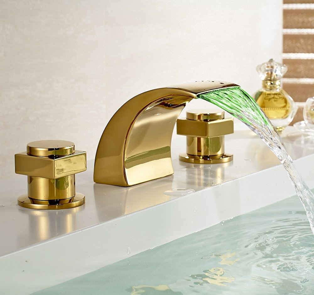 Campinas Gold Polished Led Waterfall Bathroom Sink Faucet inside dimensions 1000 X 940