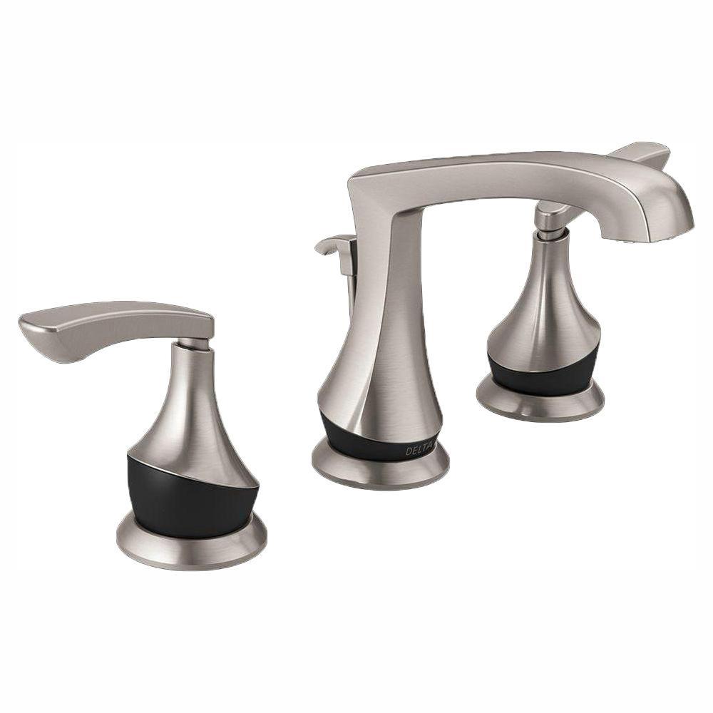 Delta Merge 8 In Widespread 2 Handle Bathroom Faucet In Spotshield within proportions 1000 X 1000
