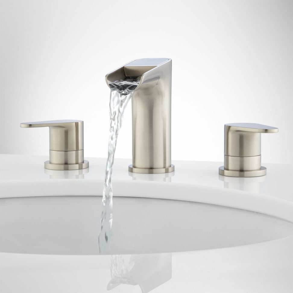 Incredible Waterfall Bathroom Faucet Brushed Nickel About Interior with regard to size 972 X 972