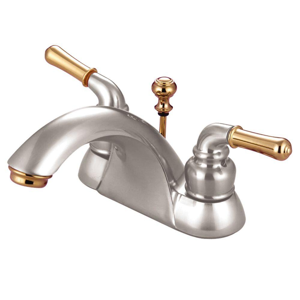 Kingston Brass 4 In Centerset 2 Handle Bathroom Faucet In Brushed Nickel And Polished Brass throughout measurements 1000 X 1000