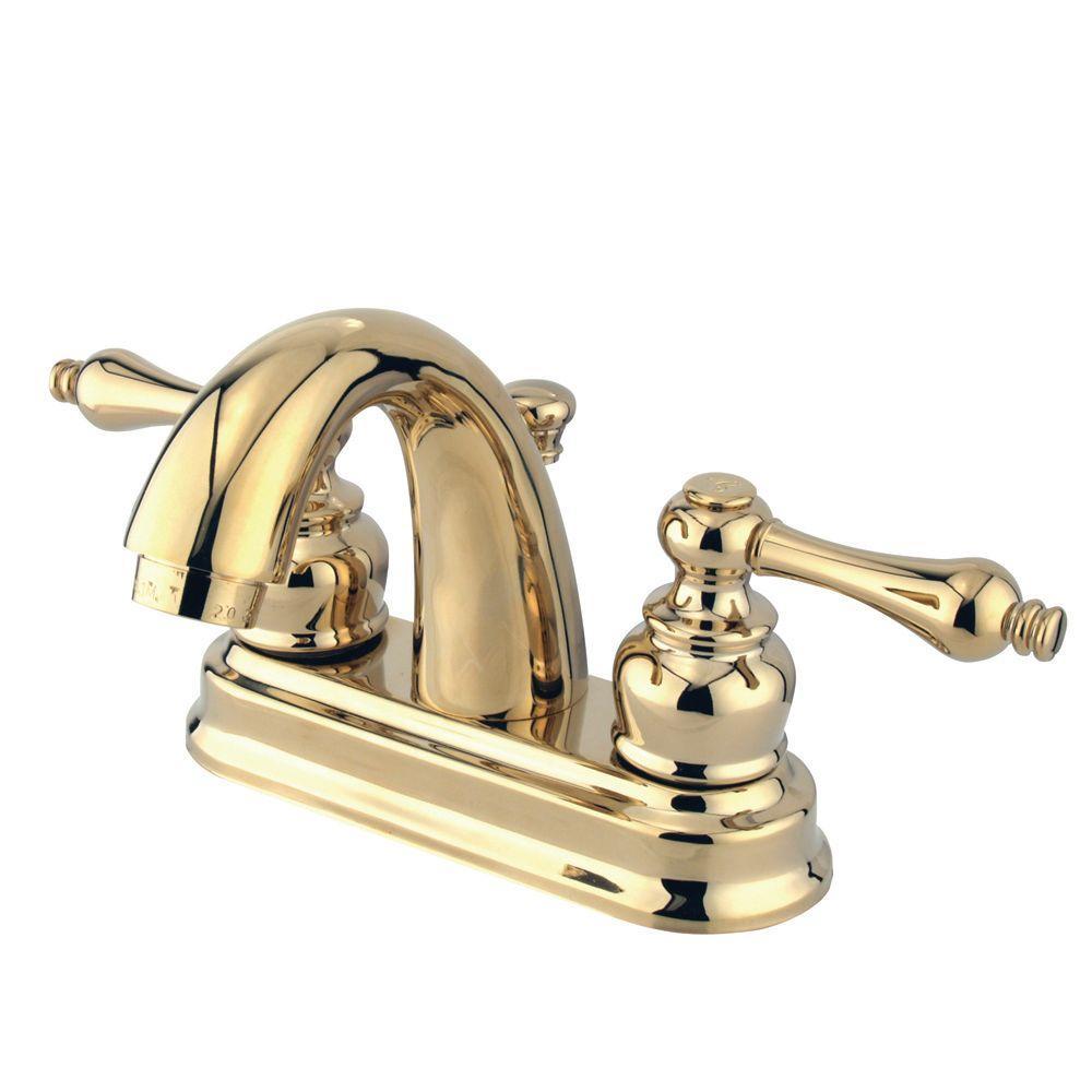Kingston Brass Restoration 4 In Centerset 2 Handle Mid Arc Bathroom Faucet In Polished Brass regarding measurements 1000 X 1000