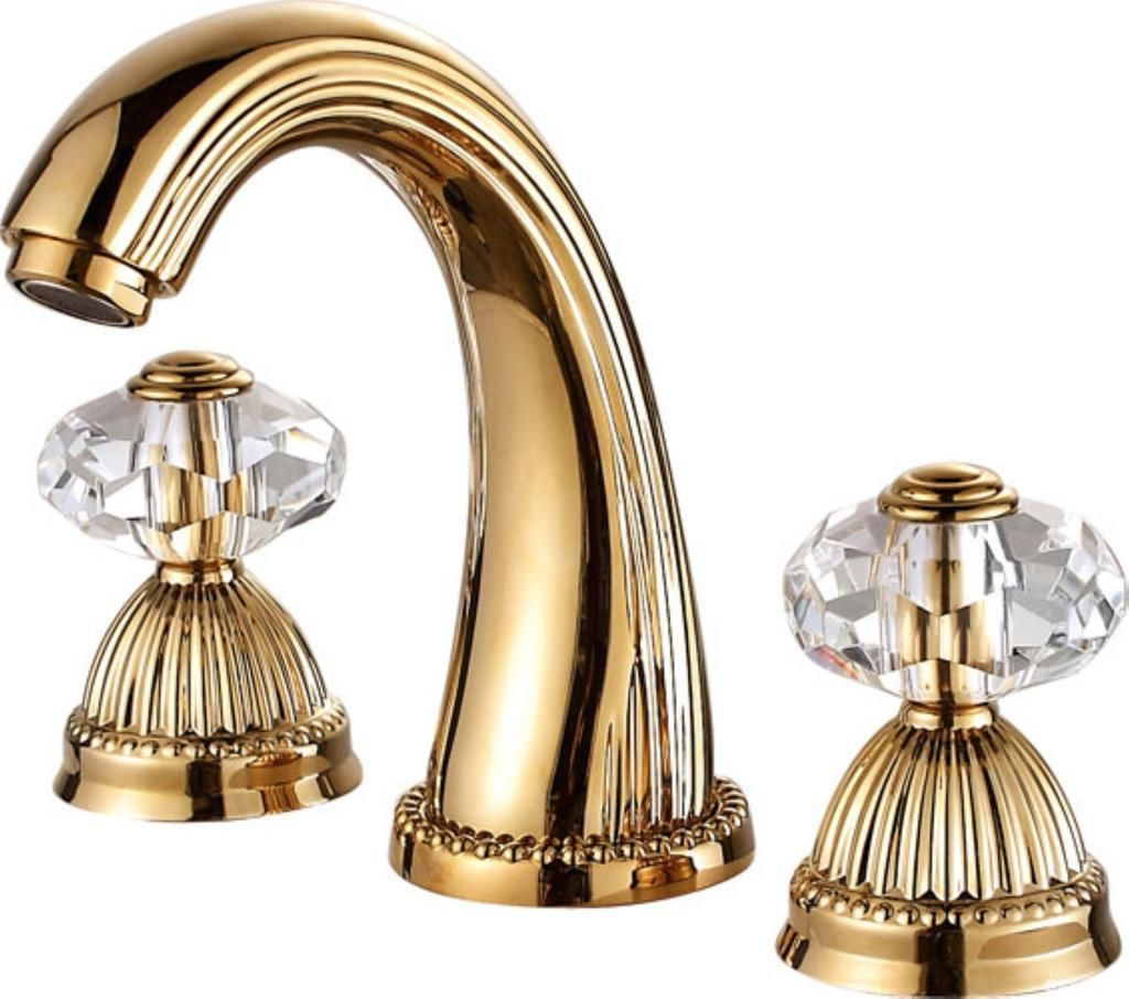 Larissa Bathroom Widespread Lavatory Sink Faucet Crystal Handles Mixer Tap Gold Clour intended for size 1024 X 906