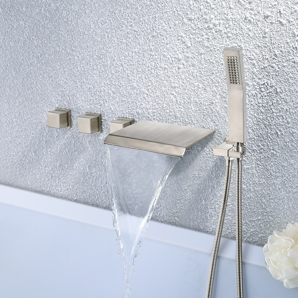 Moda Waterfall Wall Mounted Tub Filler Faucet With Hand Shower inside dimensions 1000 X 1000