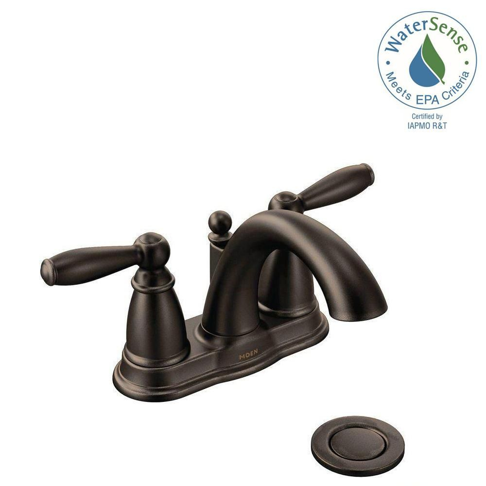 Moen Brantford 4 In Centerset 2 Handle Low Arc Bathroom Faucet In intended for size 1000 X 1000