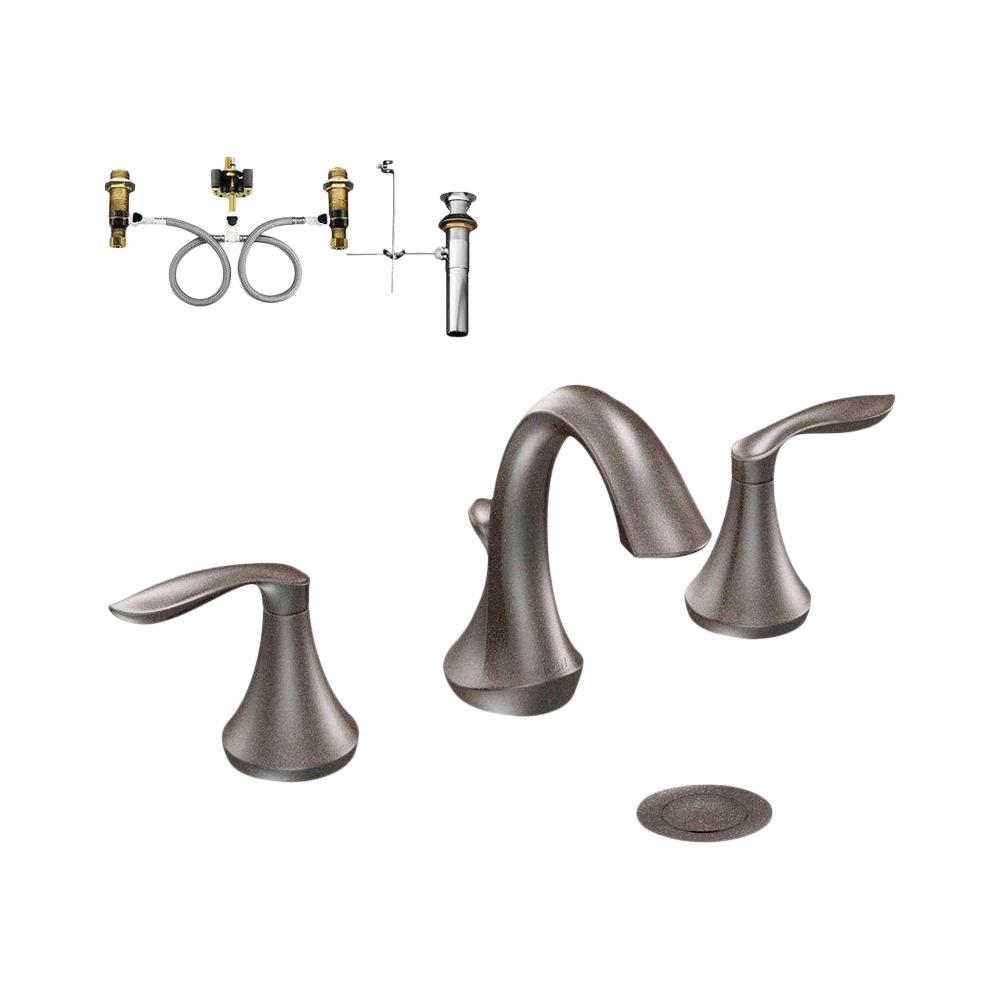 Moen Eva 8 In Widespread 2 Handle Bathroom Faucet In Oil Rubbed with regard to size 1000 X 1000