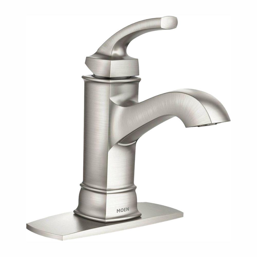 Moen Hensley Single Hole Single Handle Bathroom Faucet In Spot Resist Brushed Nickel for proportions 1000 X 1000