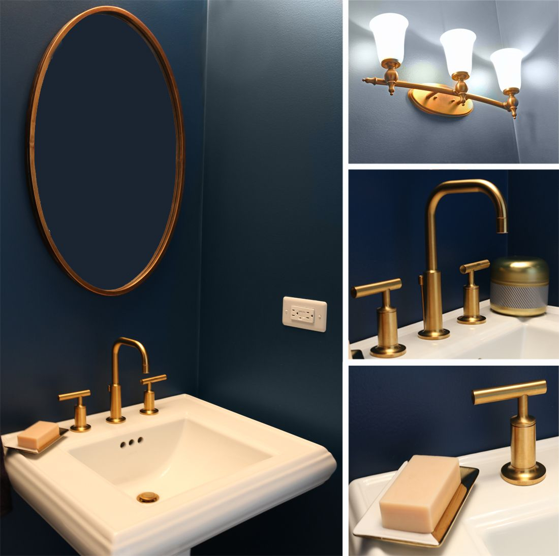 Navy Blue And Gold Bathroom Powder Room Bathroom Gold Bathroom intended for size 1100 X 1095