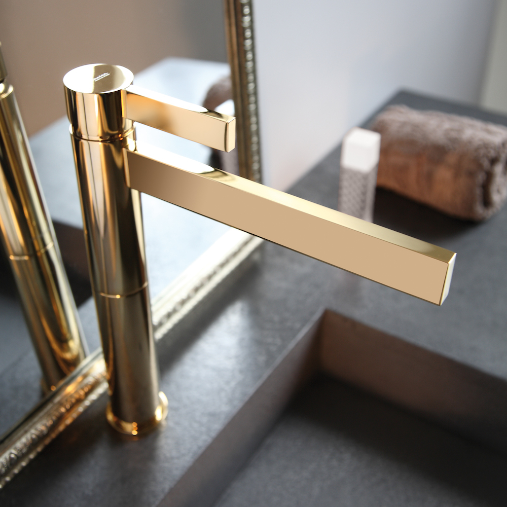 Polished Gold Waterfall Bathroom Faucet for dimensions 1000 X 1000