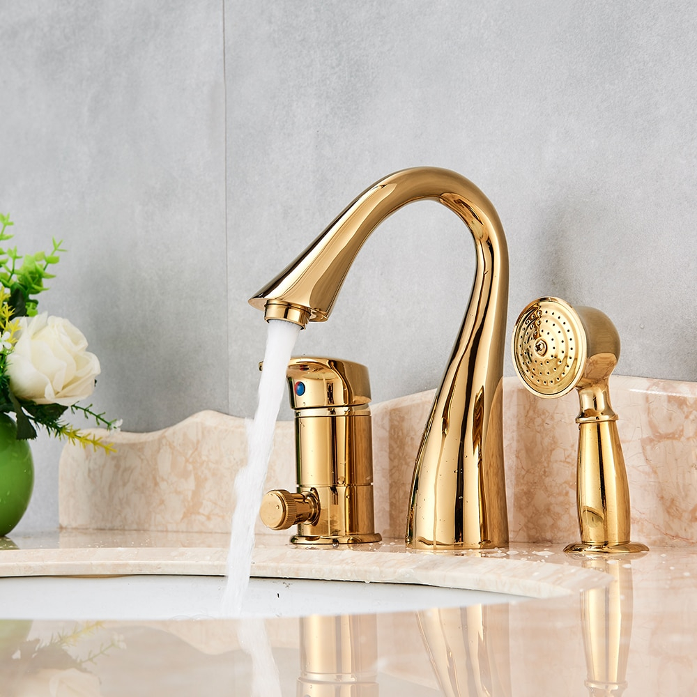 Solid Brass Golden Polish 3pcs Bathroom Faucet Vessel Sink Faucet throughout proportions 1000 X 1000