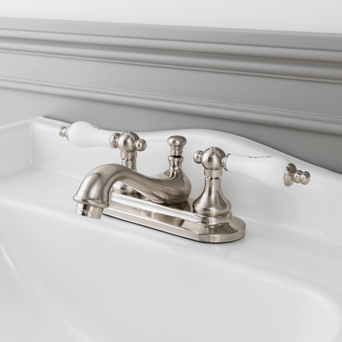 Teapot Centerset Bathroom Sink Faucet Porcelain Lever Handles throughout proportions 1200 X 1200
