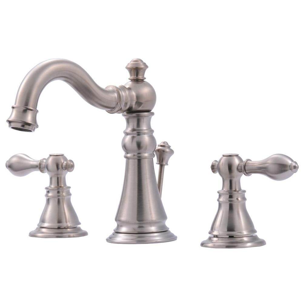 Ultra Faucets Signature Collection 8 In Widespread 2 Handle Bathroom Faucet With Pop Up Drain In Brushed Nickel inside measurements 1000 X 1000