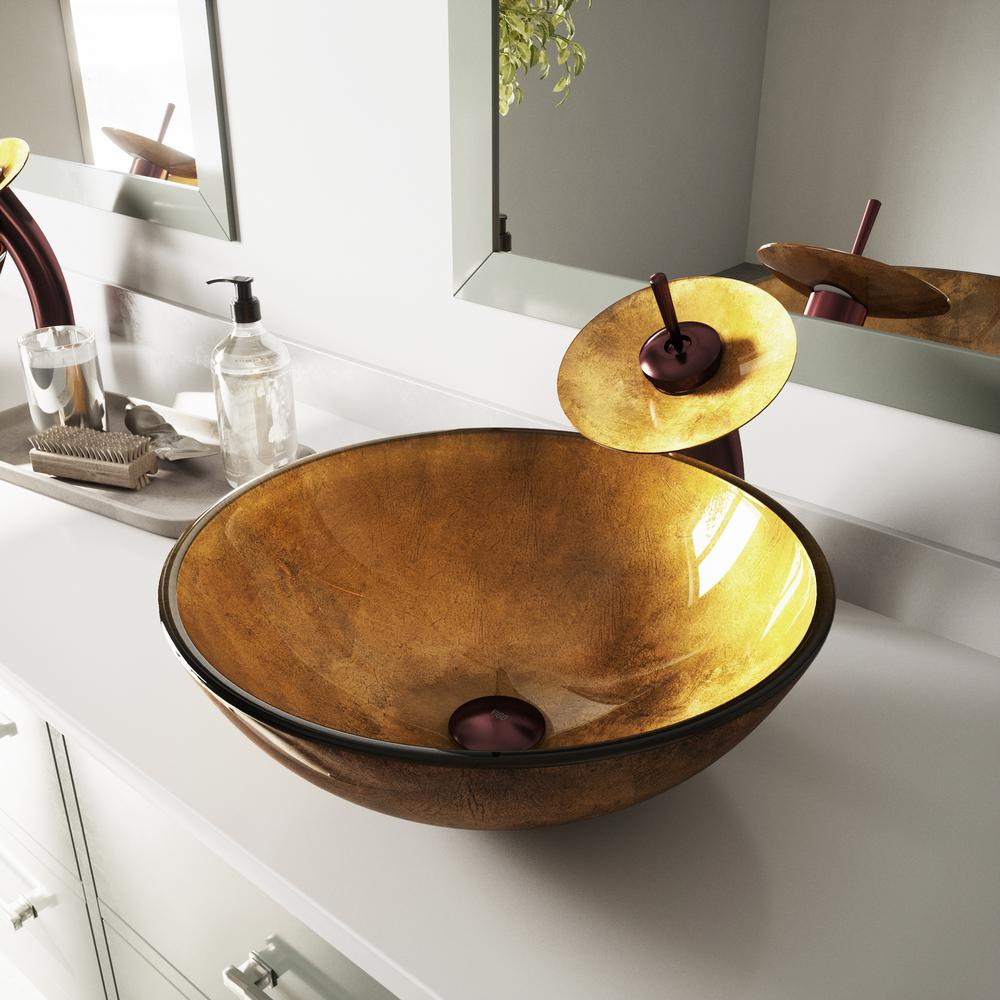 Vigo Glass Vessel Sink In Liquid Gold With Waterfall Faucet Set In throughout measurements 1000 X 1000