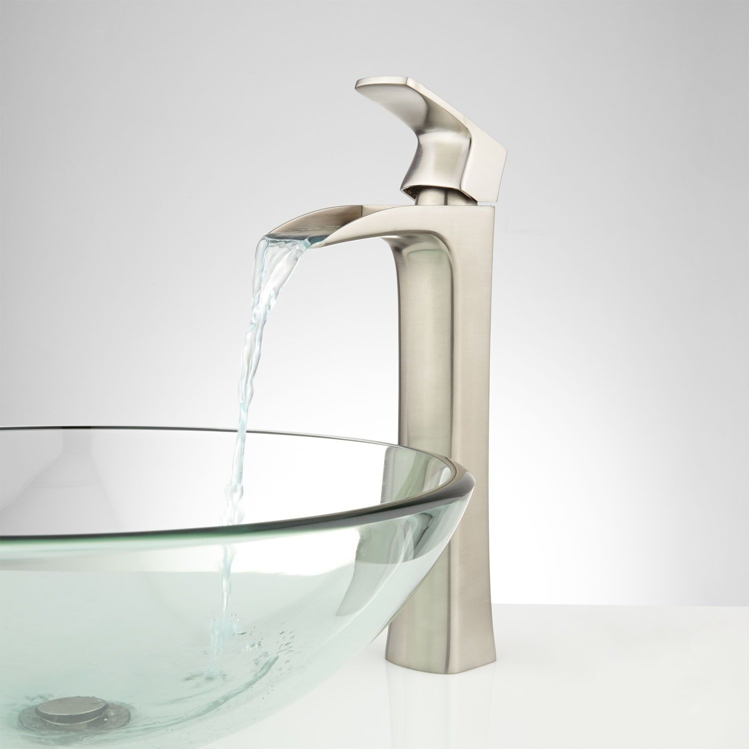 Waterfall Bathroom Vessel Sink Faucet Brushed Nickel pertaining to dimensions 1500 X 1500