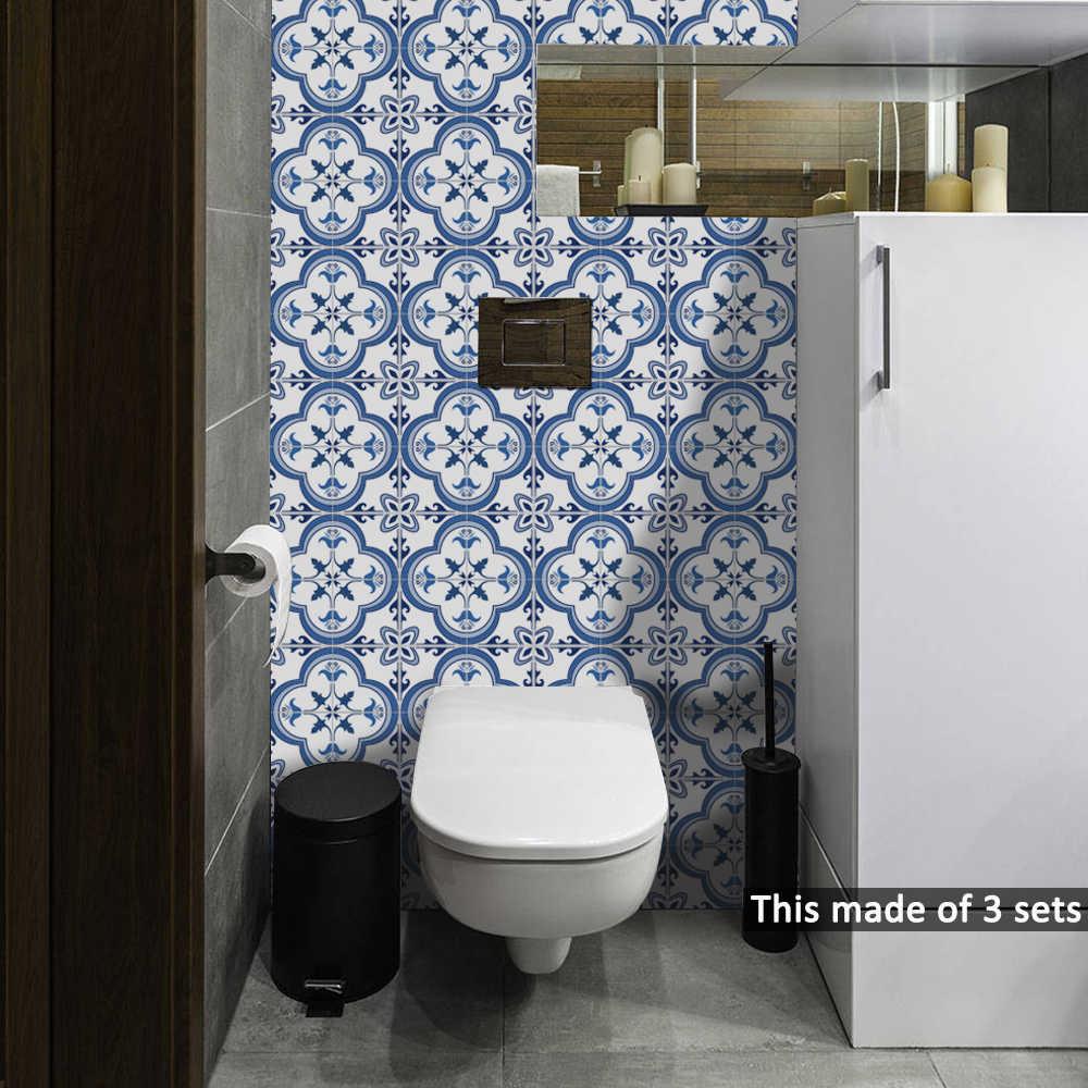 1515cm2020cm Bluegrey Mediterranean Geometry Diy Pvc Waterproof Self Adhesive Kitchen Bathroom Tile Sticker Ts059 for measurements 1000 X 1000