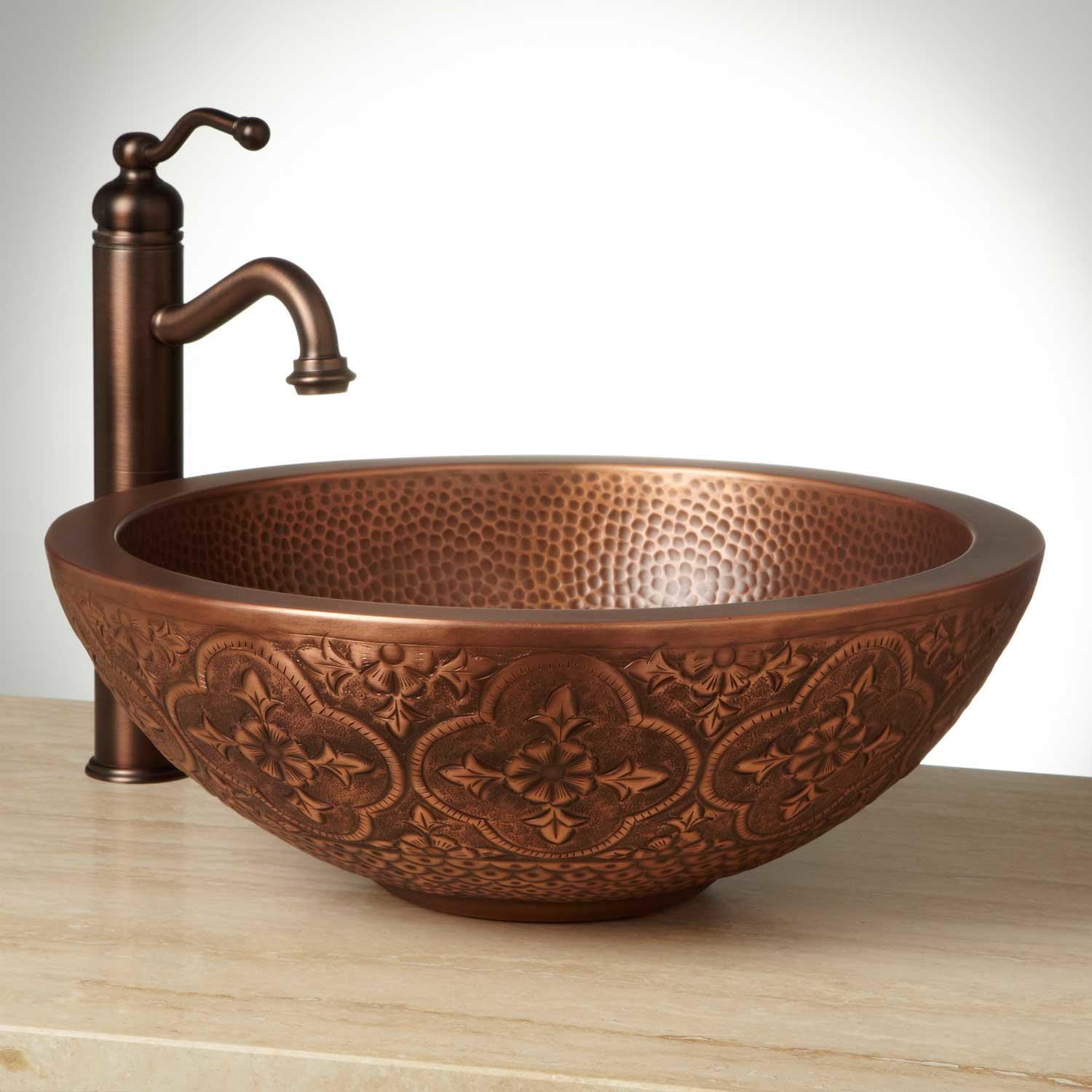 18 Bellis Double Wall Copper Vessel Sink throughout sizing 1500 X 1500