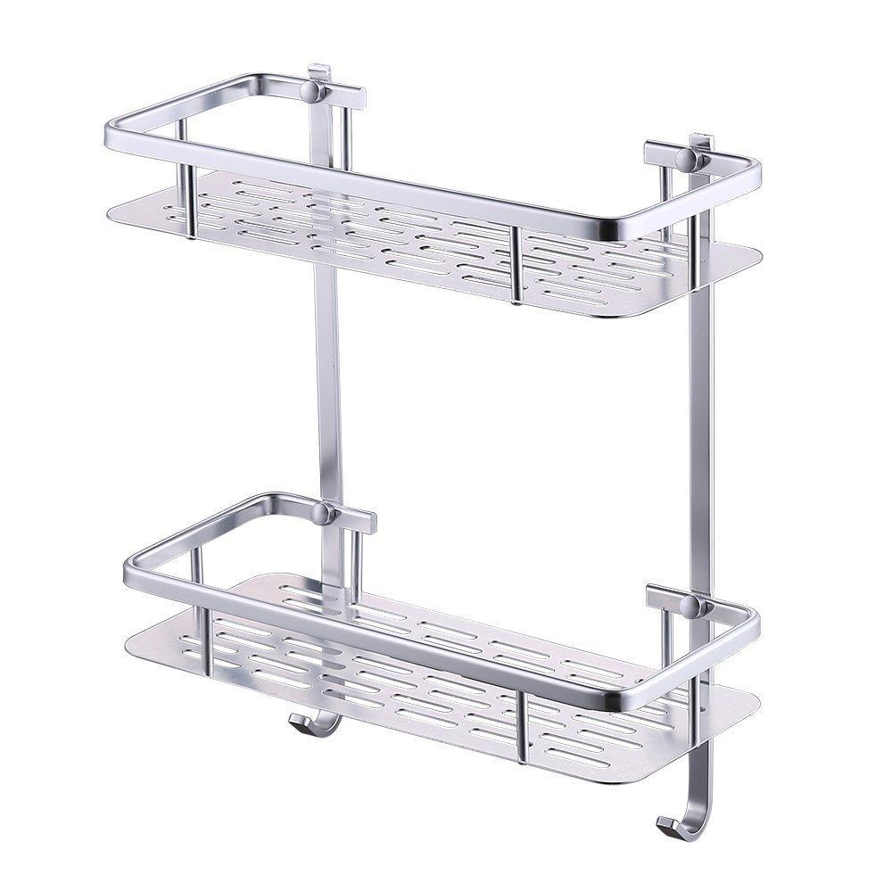 2 Layer Aluminium Bathroom Square Corner Shelf Silver with dimensions 1000 X 1000
