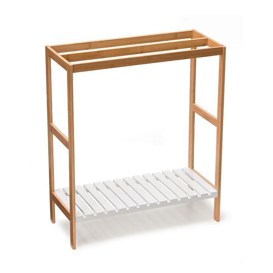3 X Rail Bamboo Wood Towel Rack White Wooden Shelf Free with regard to sizing 900 X 900