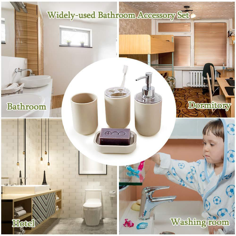 4 Pieces Plastic Bathroom Accessory Set Toothbrush Holder Tumbler Soap Dispenser Soap Dish pertaining to sizing 1000 X 1000