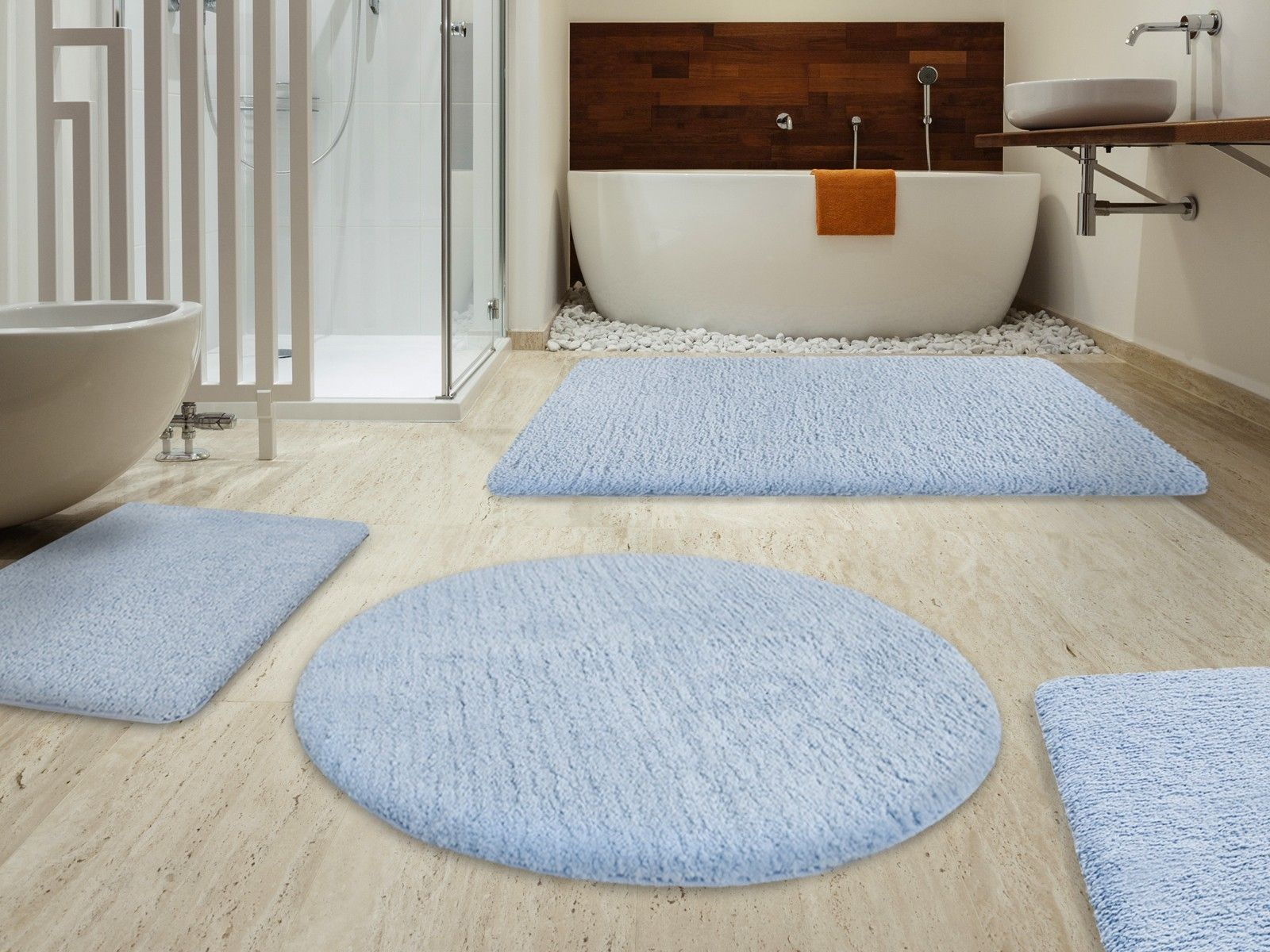 A Beautiful Light Blue Modern Bath Rugs Sets Beautiful Bathroom with regard to proportions 1600 X 1200