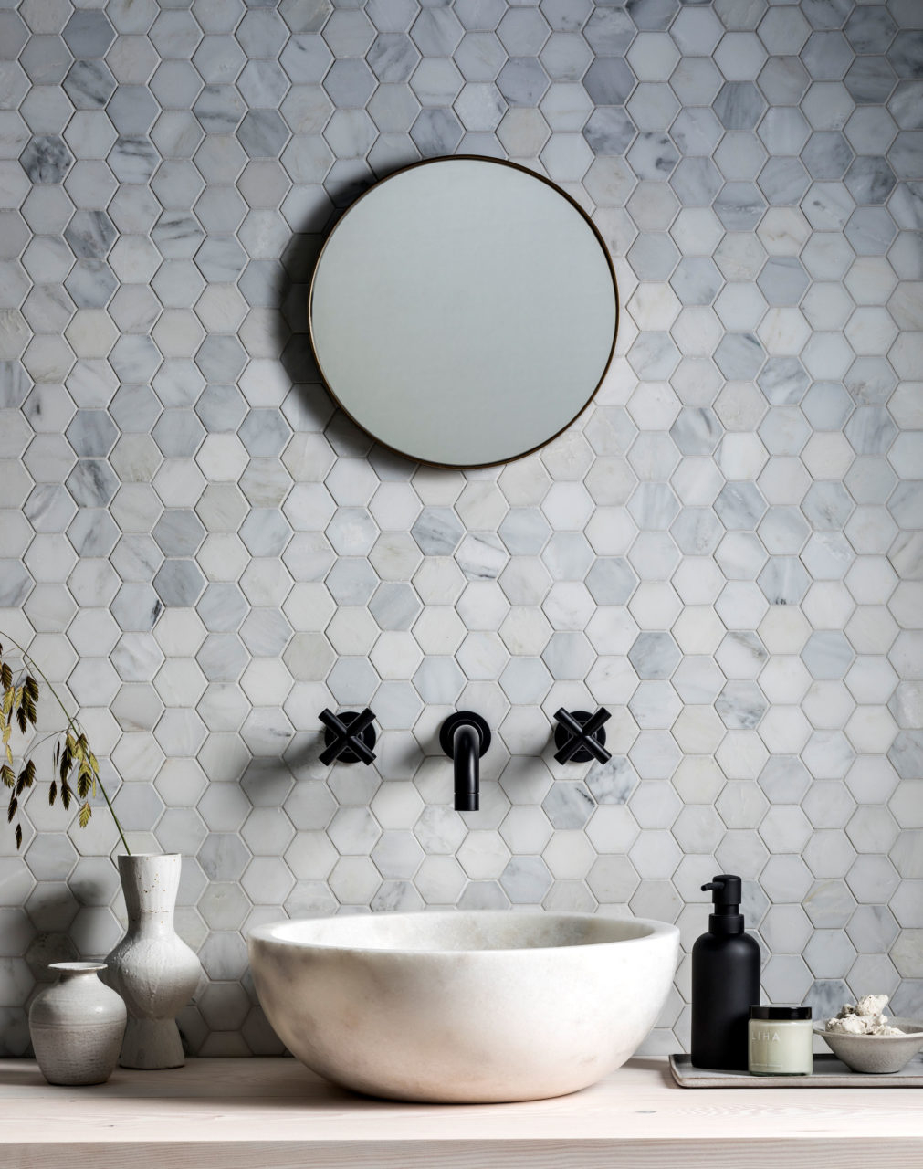 Alsace Honed Marble Hexagon Mosaic Tile Mandarin Stone within dimensions 1011 X 1280