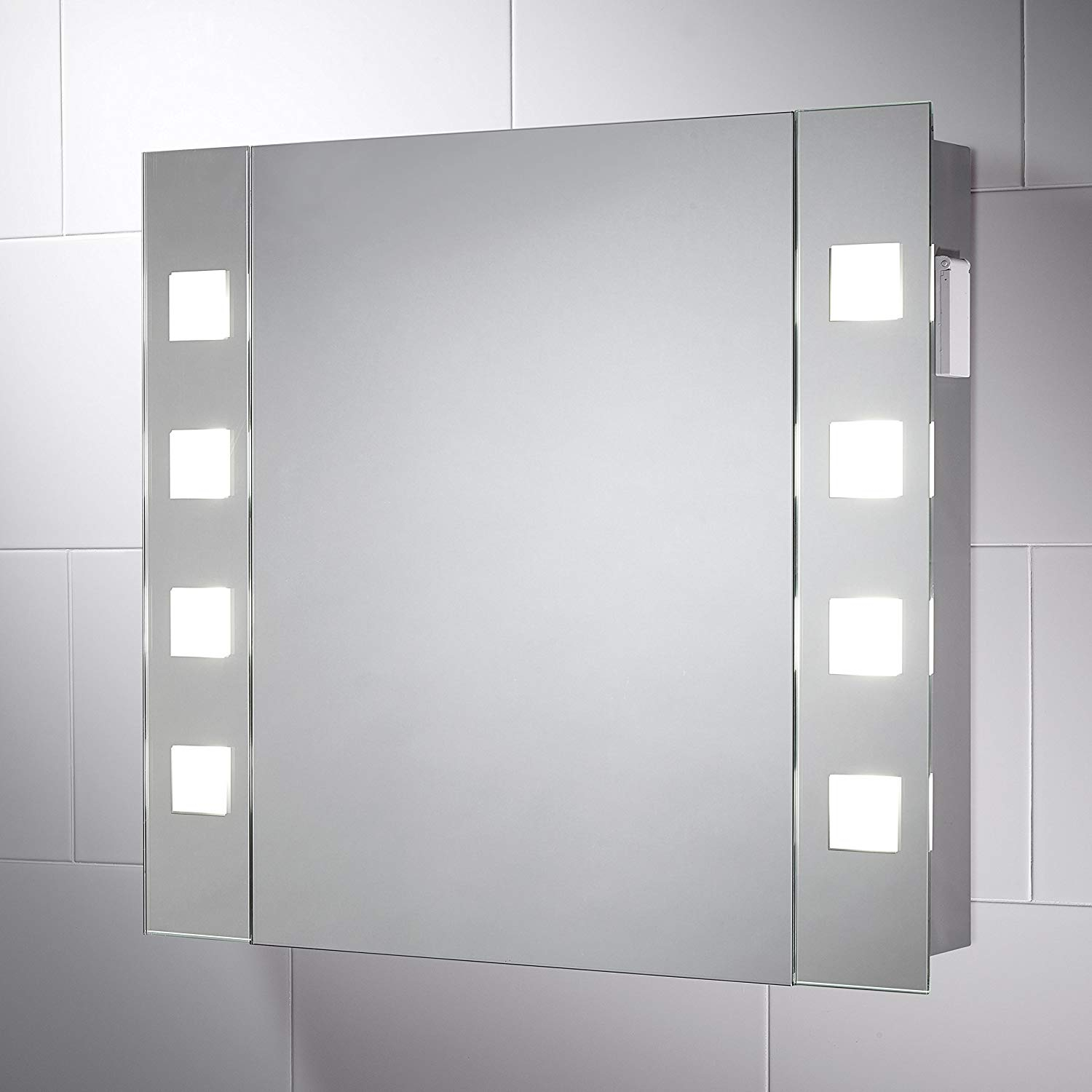 Amusant Illuminated Double Mirror Bathroom Cabinet White for proportions 1500 X 1500
