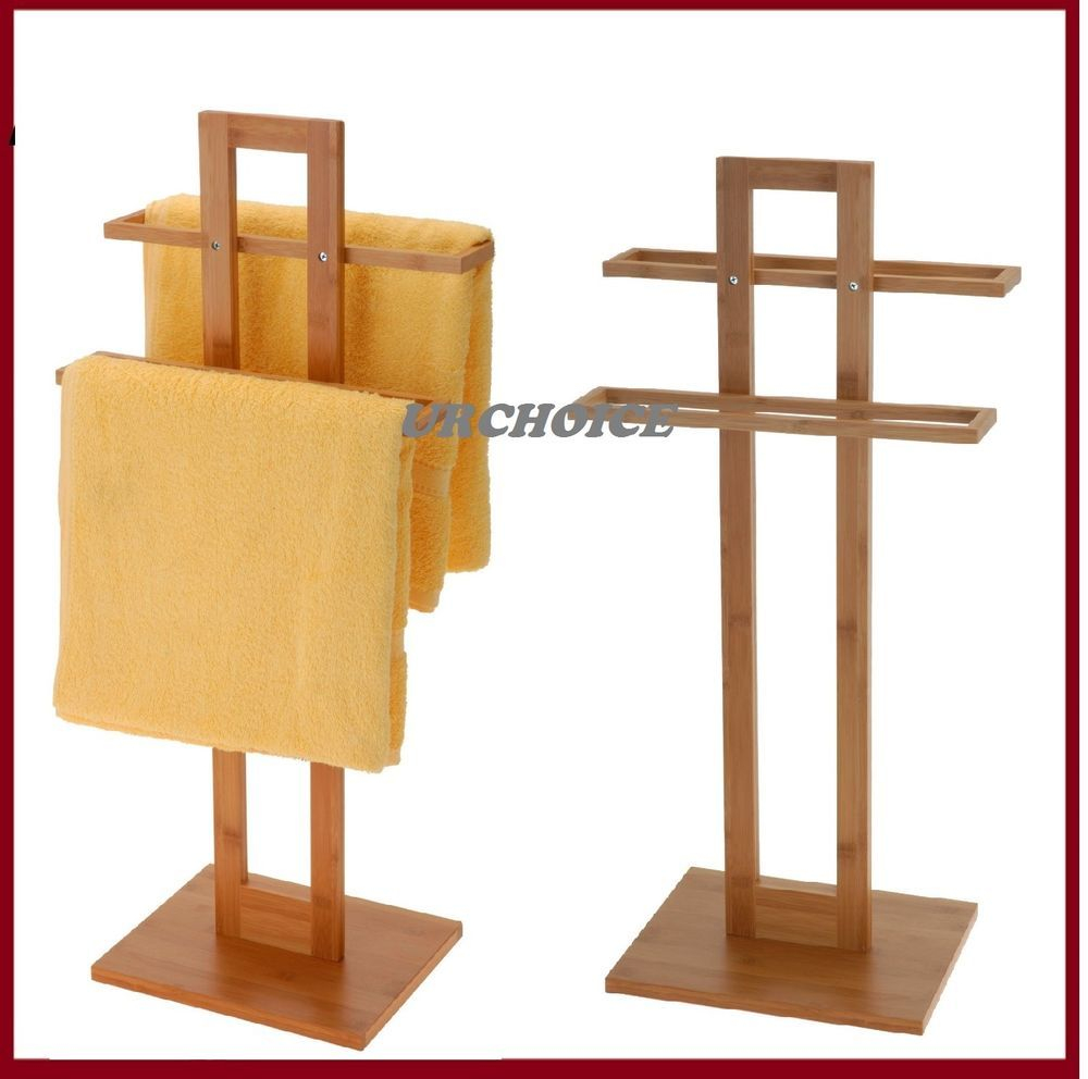 Bathroom Bamboo Wooden Wood 2 Tier Towel Rack Rail Holder within size 1000 X 992