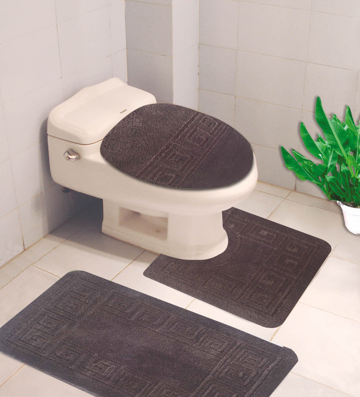 Bathroom Mats Set 3 Piece Embossed Extra Soft Shower Bath Rugs Mat 30x19contour Mat 19x19 Toilet Lid Cover 19x19 Washable Non Slip Mat Set with regard to size 1448 X 1600