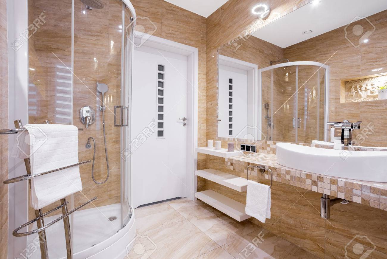 Beige Fancy Bathroom With Shower And Sandstone Tiles in proportions 1300 X 869