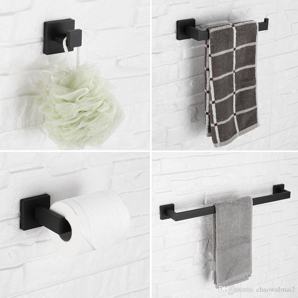 Black Bathroom Hardware Sets Toilet Paper Holder Towel Bar Towel Ring Cloth Hook Towel Rack Set pertaining to size 1000 X 1000