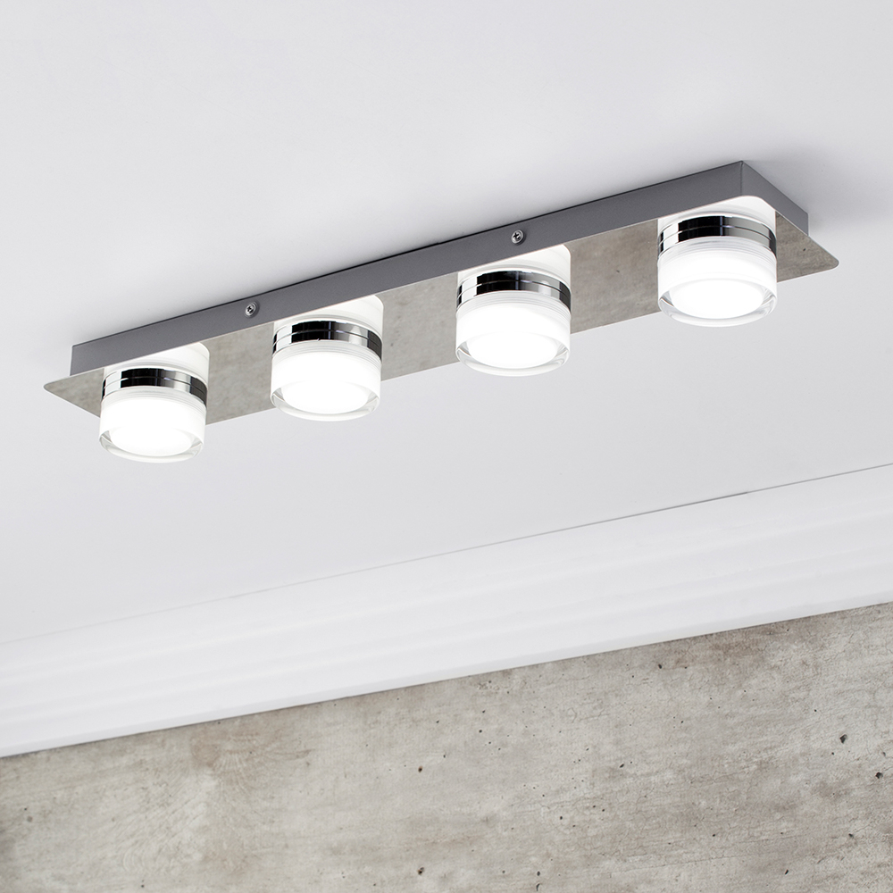 Bolton Bathroom 4 Light Led Flush Ceiling Spotlight Bar Chrome intended for proportions 1000 X 1000
