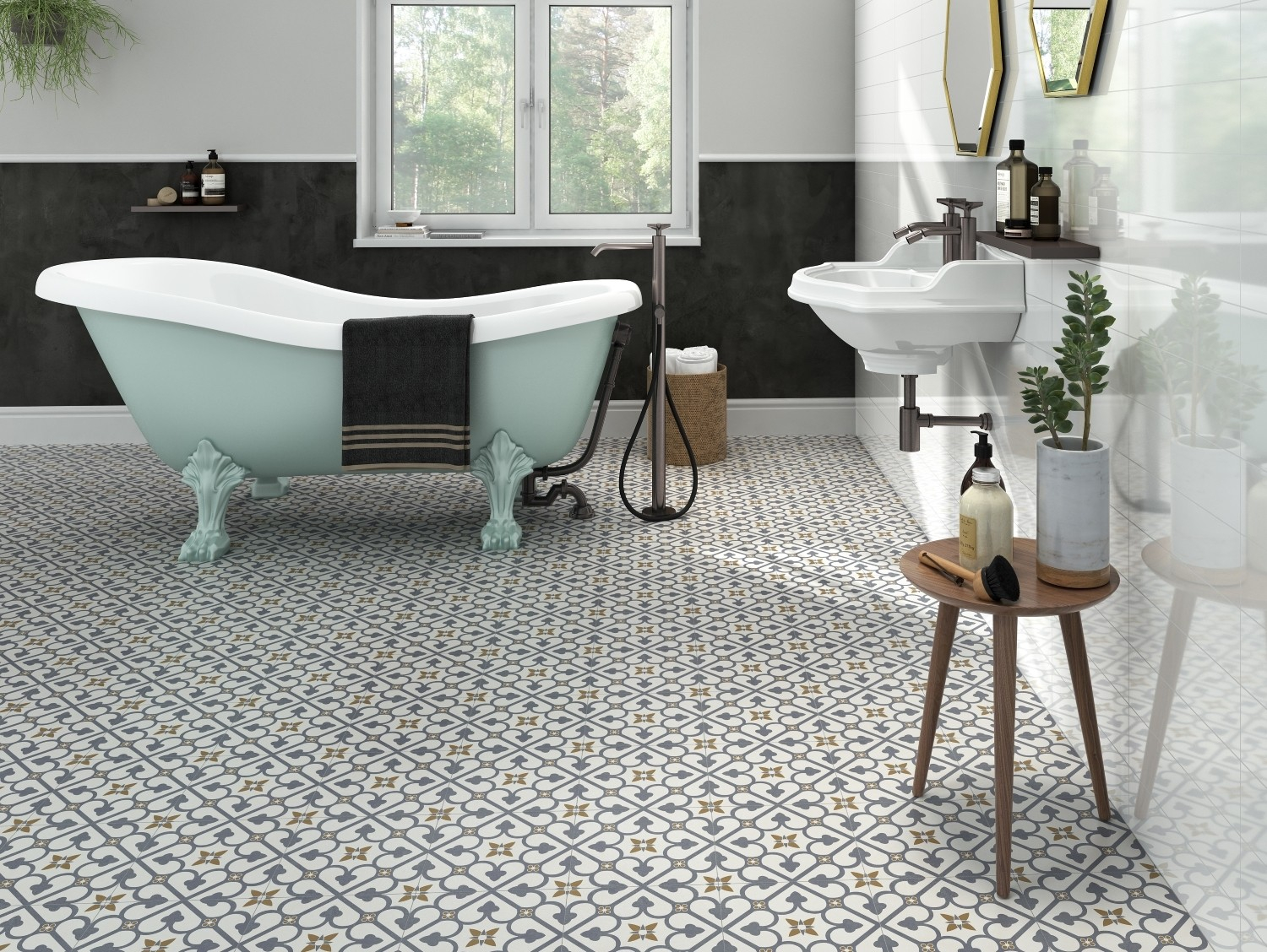 Brighton Blue Pattern Porcelain Floor Tile with proportions 1500 X 1128