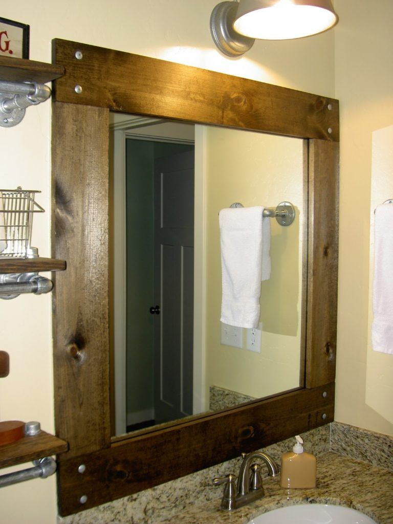 Cherry Wood Framed Bathroom Mirrors Basement Wood Framed within size 768 X 1024