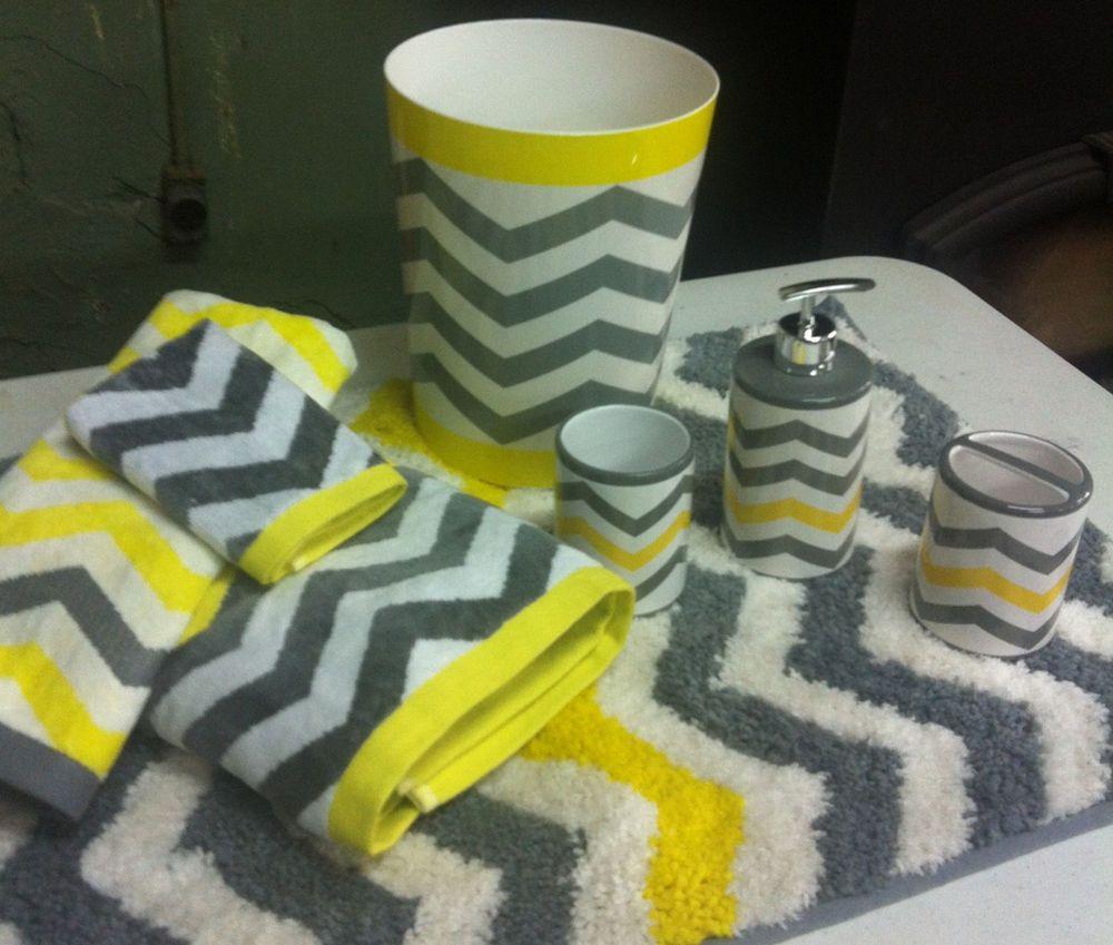 Chevron Neon Yellow Gray White 8 Pc Bathroom Set Bath Towel inside sizing 1000 X 849