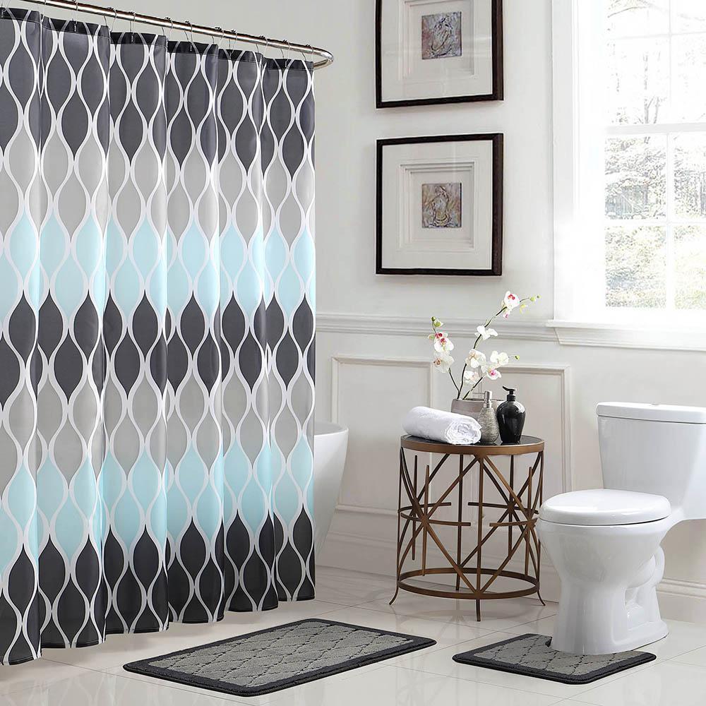 Clarisse Geometric 18 In X 30 In Bath Rug And 72 In X 72 In Shower Curtain 15 Piece Set In Greyblue for measurements 1000 X 1000