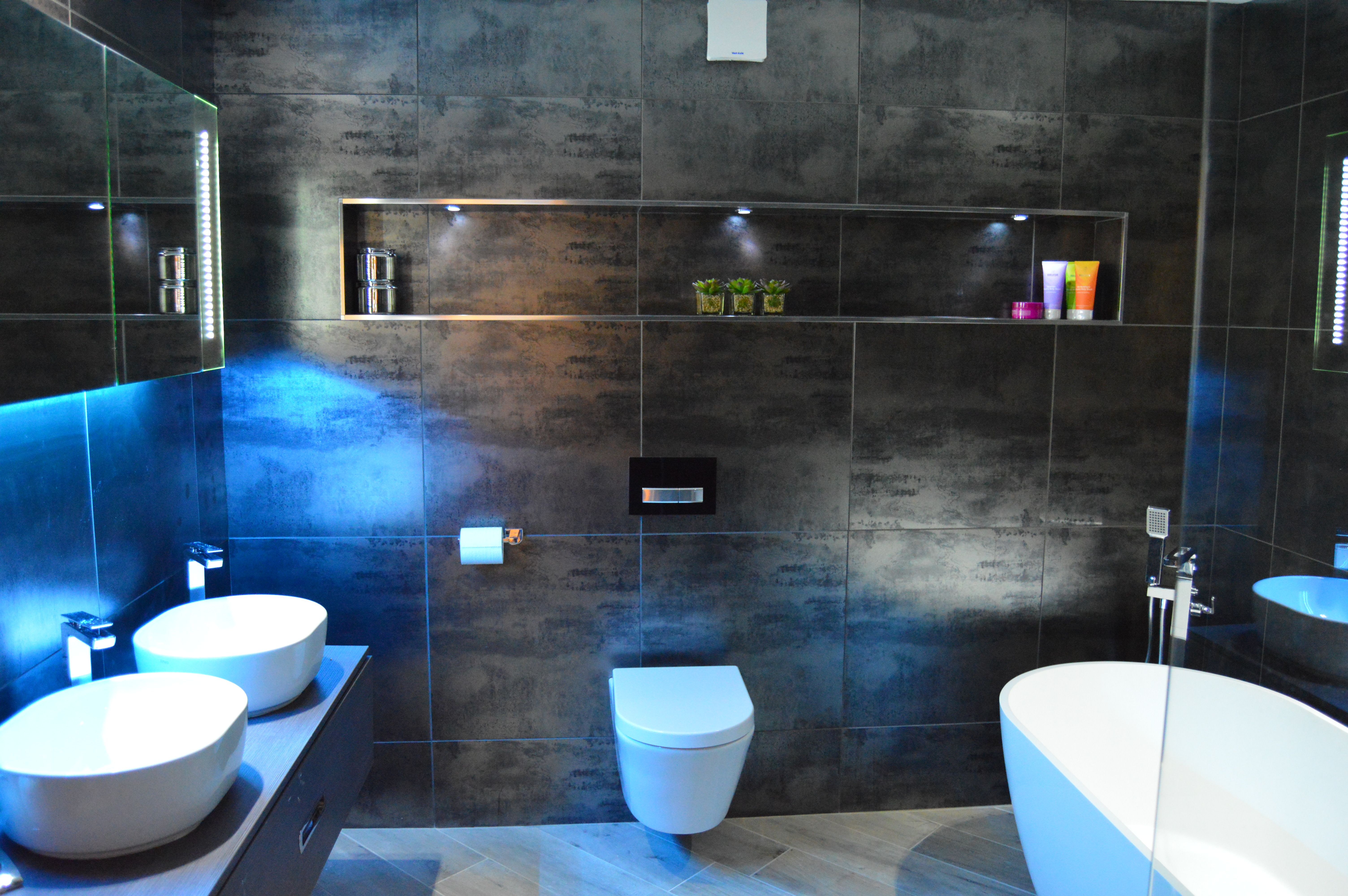 Contemporary Black Metallic Bathroom With Led Mood Lighting throughout size 6016 X 4000
