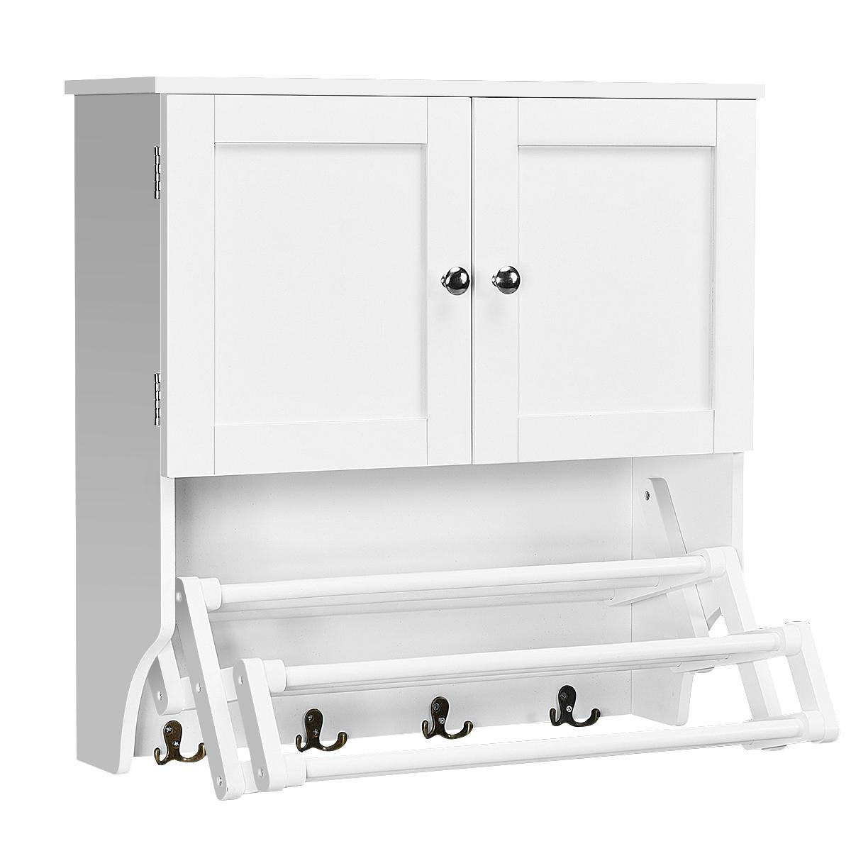 Costway Bathroom Wall Cabinet Wtowel Bar And Stretchable Shelf Storage Pine Rack White inside measurements 1200 X 1200