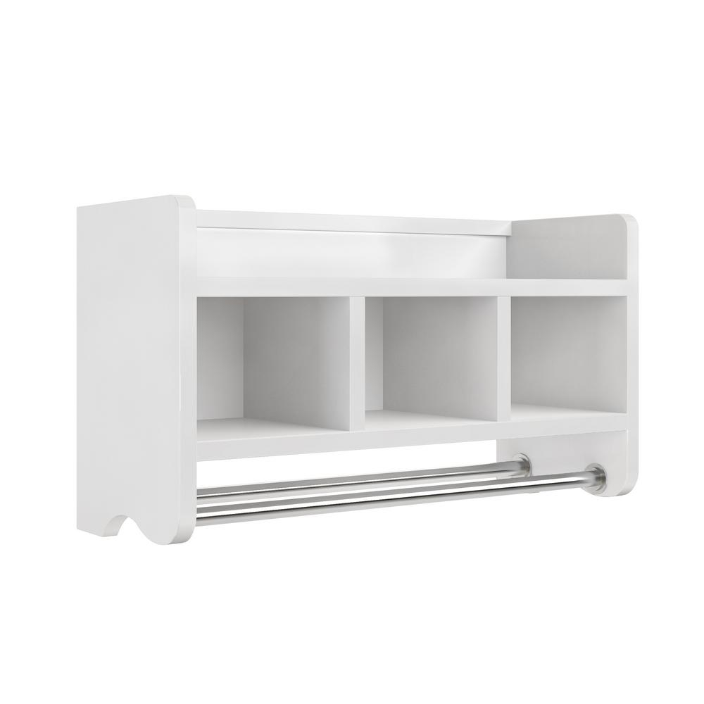 Details About 25 In Bathroom Storage Shelf Hardwood With Cubbies And Towel Rack Bar White throughout proportions 1000 X 1000