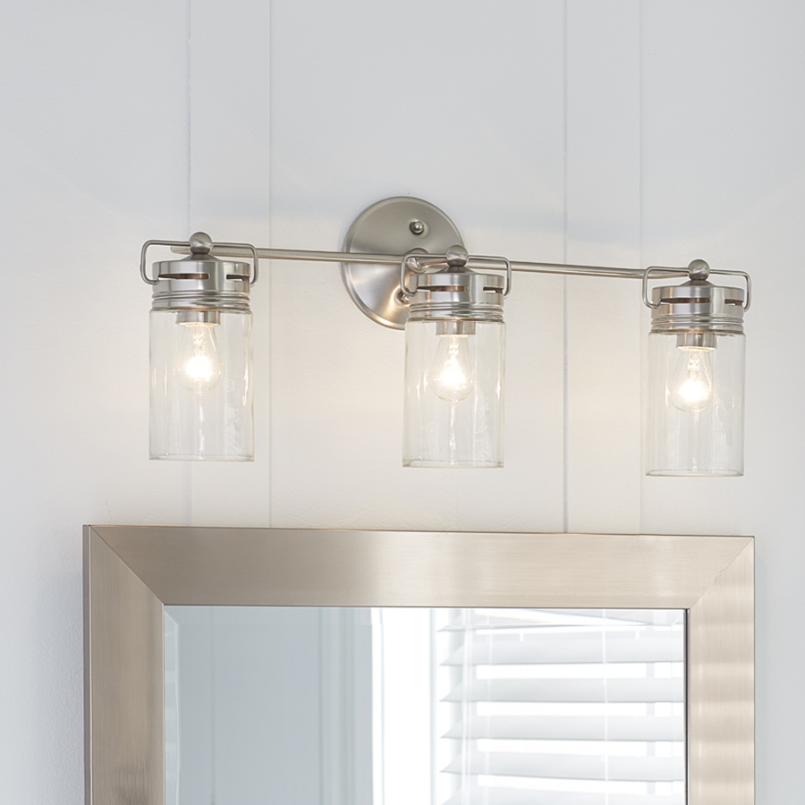 Details About Bathroom Vanity 3 Light Fixture Brushed Nickel Jar Wall Lighting Allen Roth intended for sizing 900 X 900