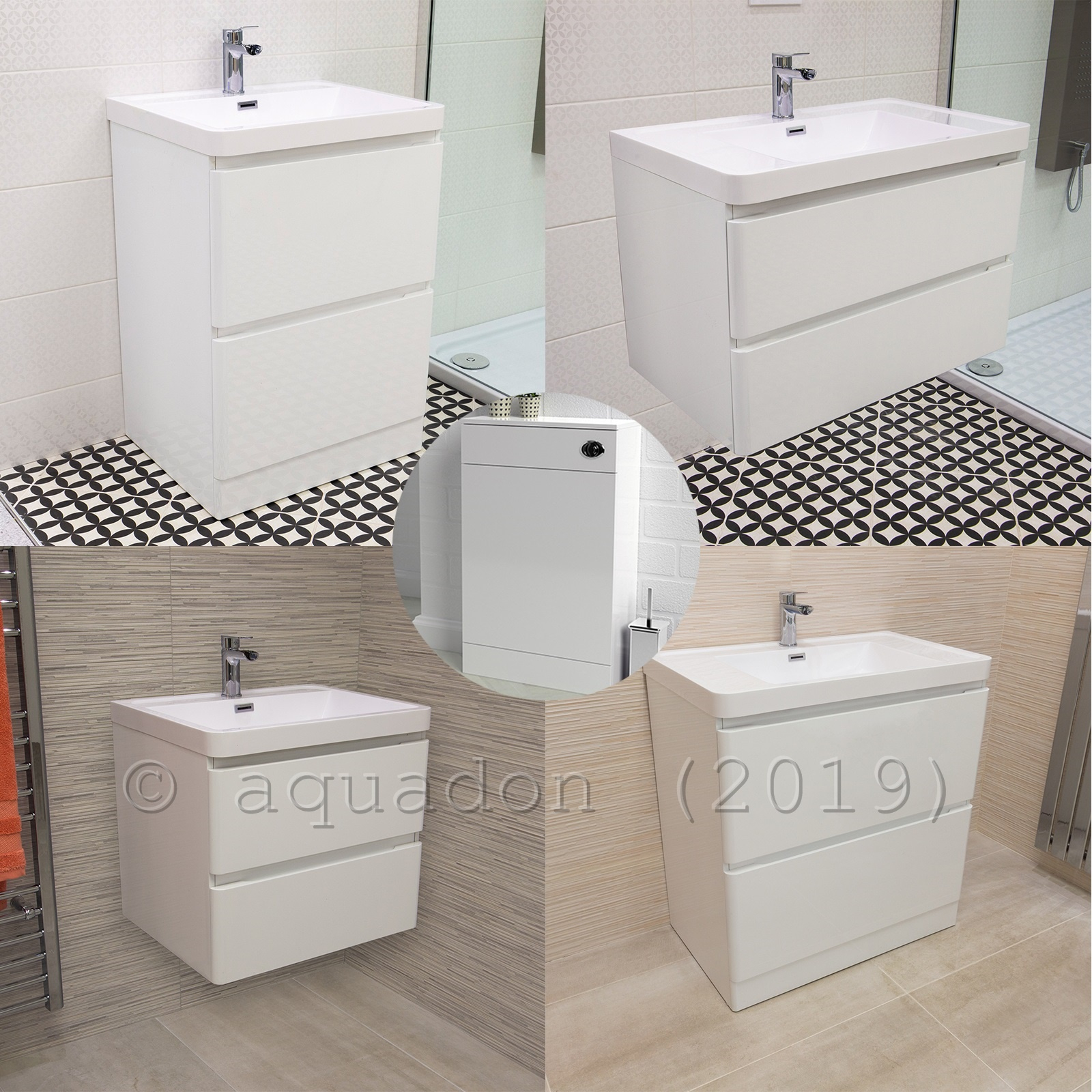 Details About Bathroom Vanity Unit Aria Basin Sink Wall Hung Freestanding Storage White with measurements 1600 X 1600