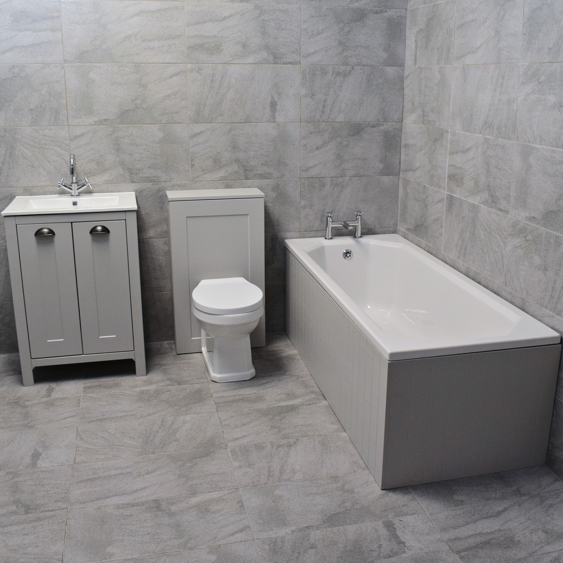Details About Der Light Grey Bathroom Suite Vanity Sink Unit Toilet Bath pertaining to size 1800 X 1800