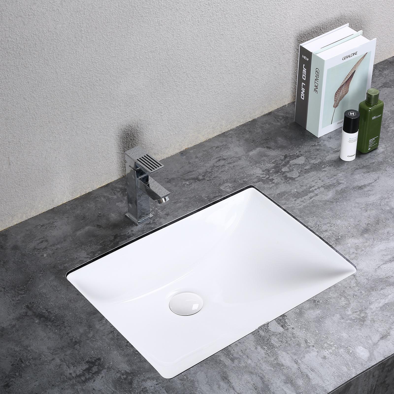 Details About Kleankin Rectangular Ceramic Vessel Sink Modern Undermount Art Basin Bathroom for measurements 1600 X 1600