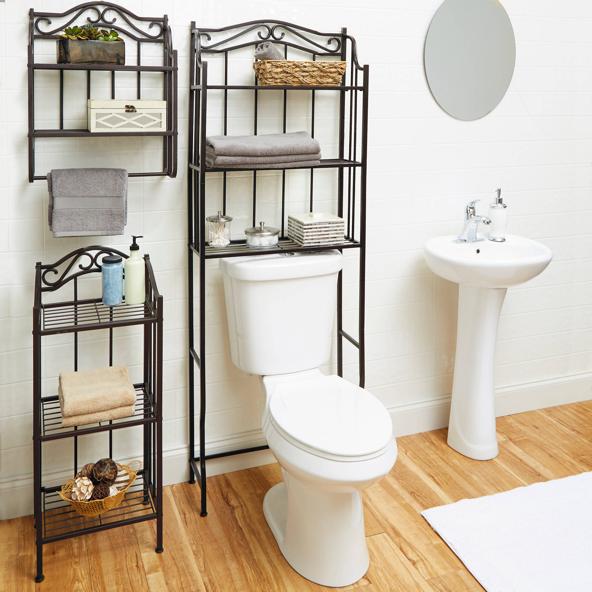 Details About Over The Toilet Bathroom Organizer 3 Shelf Space Saver Towel Metal Storage Rack for proportions 2000 X 2000